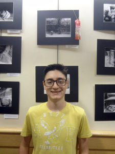 Plainview 10th-grader Aaron Waltzer with his winning entry (top photo)