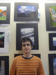 Plainview 12th-grader Evan Peskoff with his winning entry (top photo)