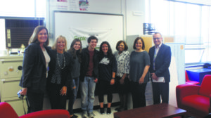 From left: Joyce Barry, chairperson of science, research and technology; Jill Gierasch, deputy superintendent; students Grace Smith, Philip Danziger and Samantha Frucht; Dr. Lorna Lewis, Superintendent of Schools; Marylou O'Donnell, research coordinator and team coach; and James Murray, principal