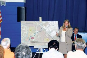 Councilwoman Rebecca Alesia leads a public forum regarding Old Bethpage land.              (Photo by Steve Mosco)